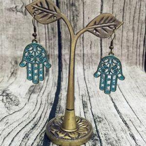 Antique Boho Gypsy Hamsa Hand Dangle Earrings